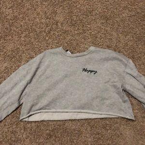 "Gray ""happy"" crop shirt"